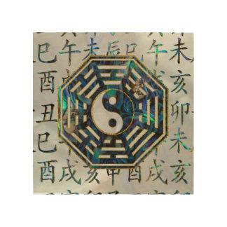Impression Sur Bois Hiéroglyphes de shui de feng de Bagua d'ormeau et
