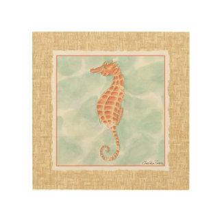 Impression Sur Bois Hippocampe d'orange d'océan