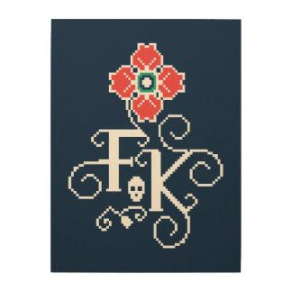 Impression Sur Bois Hommage floral de Frida Kahlo |