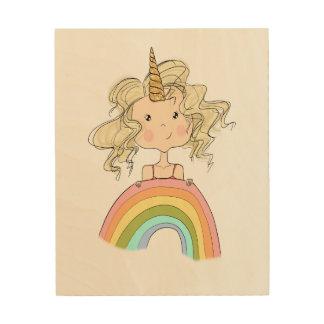 Impression Sur Bois Illustration de licorne de fille