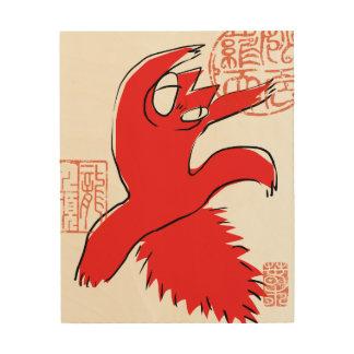 Impression Sur Bois Illustration drôle comique d'Asiatique de chat de