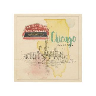 Impression Sur Bois Image de croquis d'aquarelle de Chicago,