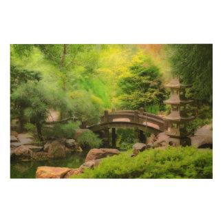 Impression Sur Bois Jardin japonais - l'eau sous le pont