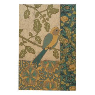 Impression Sur Bois Jaune et oiseau bleu turquoise étés perché sur une
