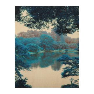 Impression Sur Bois La couleur bleue a effectué la nature fraîche et