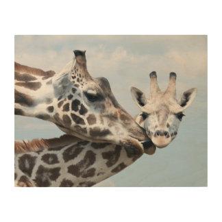 Impression Sur Bois La girafe embrasse son veau