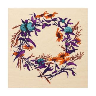 Impression Sur Bois La guirlande florale de fleur plante