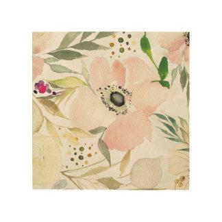 Impression Sur Bois La joie du motif floral d'aquarelle du blanc |