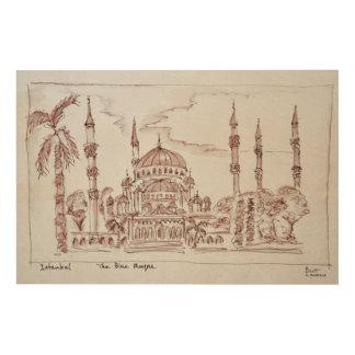 Impression Sur Bois La mosquée bleue   Istanbul, Turquie
