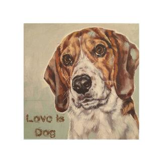 Impression Sur Bois L'amour est copie d'aquarelle de chien