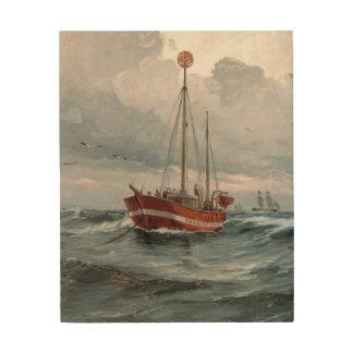 Impression Sur Bois Le bateau-phare au récif de Skagen