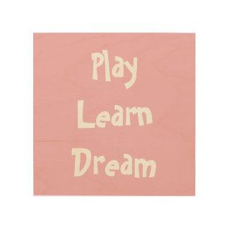 Impression Sur Bois Le décor de mur de crèche, jeu apprennent le rêve,