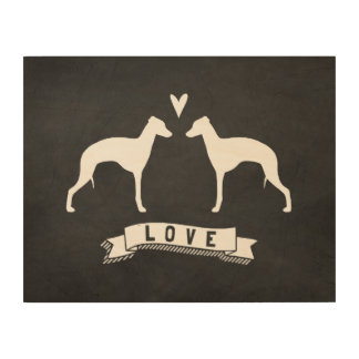 Impression Sur Bois Le lévrier italien silhouette l'amour
