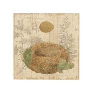 Impression Sur Bois Le nid d'un oiseau avec un oeuf de Brown