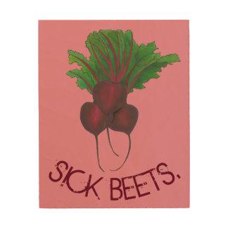 Impression Sur Bois Légume rouge malade de jardin de betteraves de