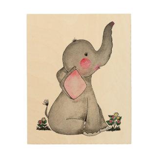 Impression Sur Bois L'éléphant mignon de bébé d'aquarelle avec