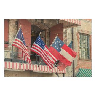 Impression Sur Bois Les drapeaux américains rayent la rue