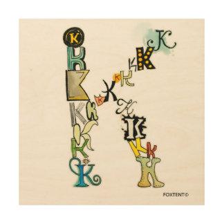 Impression Sur Bois Lettre K de pile d'alphabet