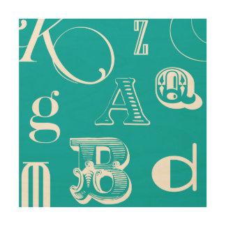 Impression Sur Bois Lettres décoratives sur l'arrière - plan bleu