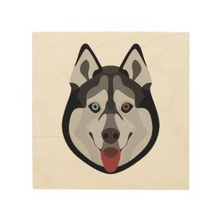 Impression Sur Bois L'illustration poursuit le chien de traîneau