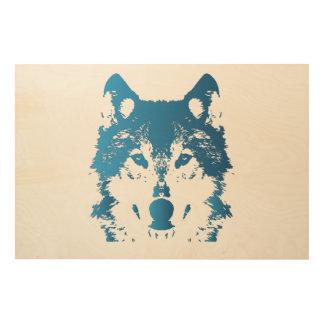 Impression Sur Bois Loup de bleu glacier d'illustration