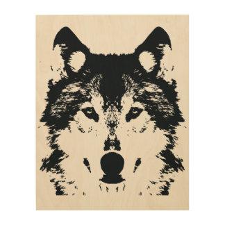 Impression Sur Bois Loup noir d'illustration