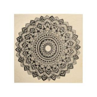 Impression Sur Bois Mandala noir et blanc