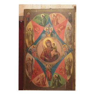 Impression Sur Bois Mary, Jésus, et anges
