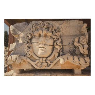 Impression Sur Bois Méduse découpant aux ruines grecques