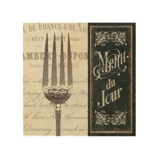 Impression Sur Bois Menu et fourchette français