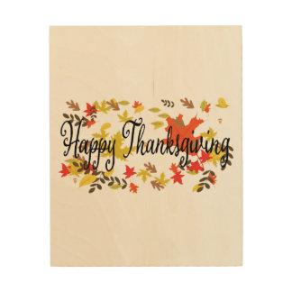 Impression Sur Bois Milieux de thanksgiving. Wate de feuillage de