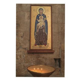 Impression Sur Bois Mosaïque de Mary et de Jésus