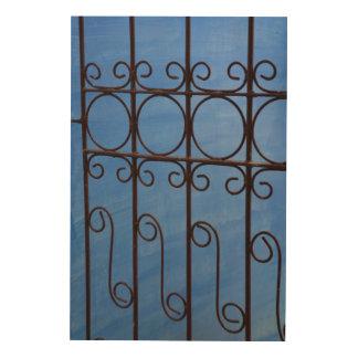 Impression Sur Bois Motif de porte de fer dans le bleu, Cuba