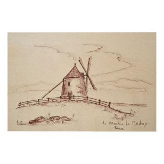 Impression Sur Bois Moulin à vent   Pontorson de Le Moulin de Moidrey