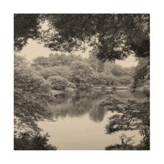 Impression Sur Bois Nature et lac noirs et blancs, frais, uniques