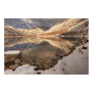 Impression Sur Bois Neige au lac du nord, la Californie