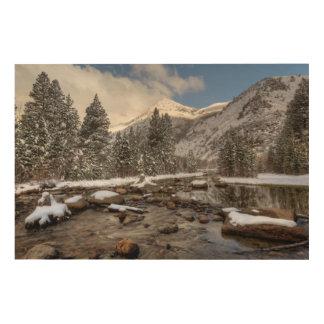 Impression Sur Bois Neige de ressort, sierra Nevada, CA