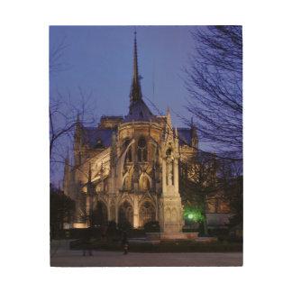 Impression Sur Bois Notre Dame la nuit