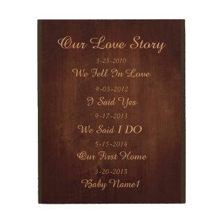 Impression Sur Bois Notre plaque en bois de mur de Love Story