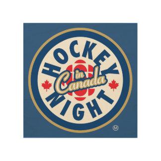Impression Sur Bois Nuit d'hockey dans le logo du Canada