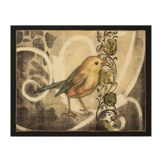 Impression Sur Bois Oiseau jaune et vert sur l'arrière - plan vintage