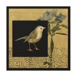 Impression Sur Bois Oiseau sur l'arrière - plan noir et vintage