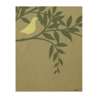 Impression Sur Bois Oiseau vert été perché sur la branche verte