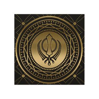 Impression Sur Bois Or décoratif de symbole de Khanda sur le noir