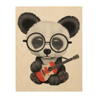 Impression Sur Bois Panda de bébé jouant la guitare canadienne de