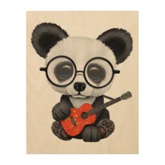 Impression Sur Bois Panda de bébé jouant la guitare chinoise de