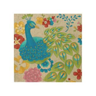 Impression Sur Bois Paon et fleurs colorés