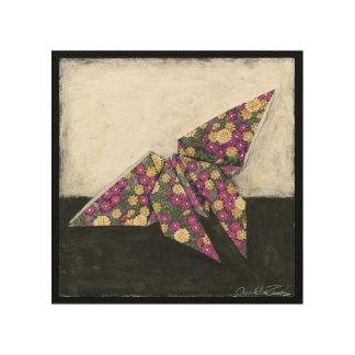 Impression Sur Bois Papillon d'origami sur le papier floral