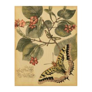 Impression Sur Bois Papillon et libellule avec les fleurs rouges