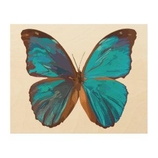 Impression Sur Bois Papillon tropical de gemme de bleu et de turquoise